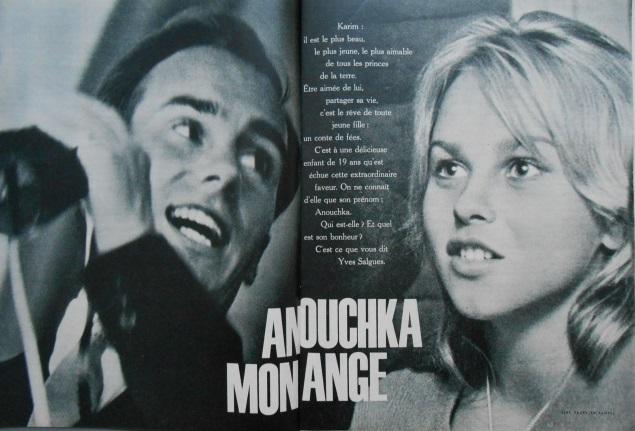 """Anouchka, My Angel"": Karim Aga Khan and Anouchka Von Menks watch a horse race, featured on the centerfold of Stop' magazine"